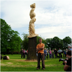 Story tree with sculptor